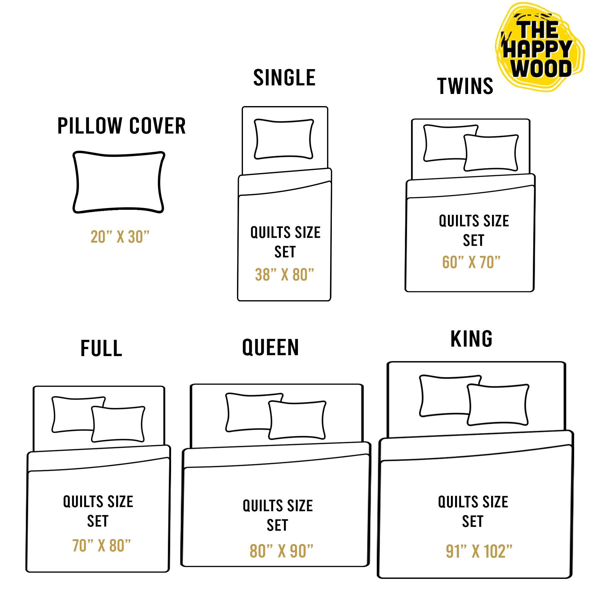 Quilt Bed Set Size Chart
